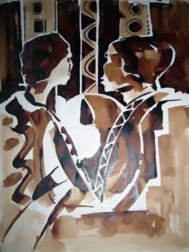 African-Oil-painting-Two-heads-thinking