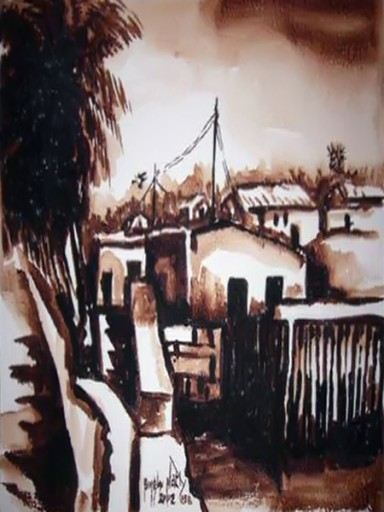African-Oil-painting-African-Village-View